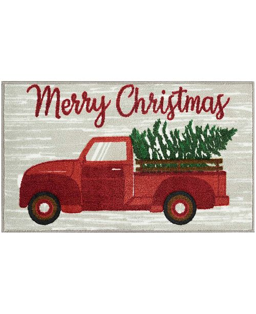 "Nourison Merry Christmas Truck With Tree 18"" x 30"" Accent Rug"