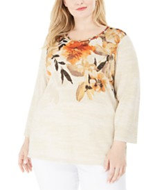 Alfred Dunner Plus Size Street Smart Cutout-Trim Metallic Top