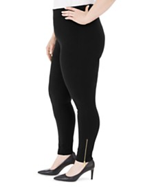 JM Collection Plus Size Zipper-Hem Leggings, Created For Macy's