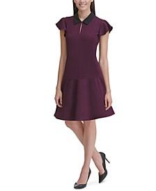 Collar Flutter-Sleeve Dress