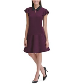 Tommy Hilfiger Collar Flutter-Sleeve Dress