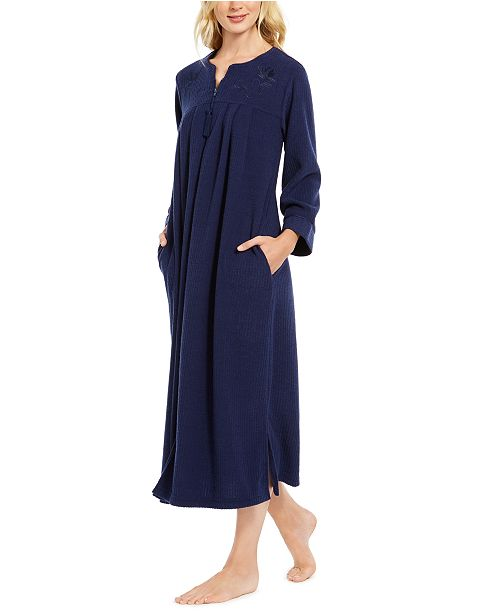 Miss Elaine Brushed Back Terry Long Zipper Robe
