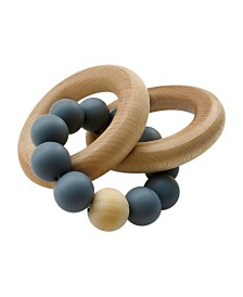 Tiny Teethers Infant Silicone and Beech Wood Rattle and Teether