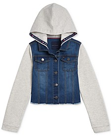 Big Girls Mixed-Media Hooded Jacket