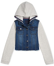 Tommy Hilfiger Big Girls Mixed-Media Hooded Jacket