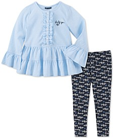 Little Girls Ruffled Tunic & Printed Leggings Set