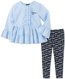 Tommy Hilfiger Little Girls Ruffled Tunic & Printed Leggings Set