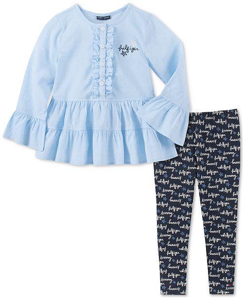Tommy Hilfiger Toddler Girls 2-Pc. Clip-Dot Tunic & Logo Leggings Set