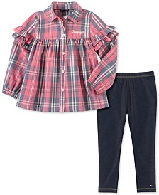 Tommy Hilfiger Little Girls Ruffled Plaid Tunic & Leggings Set
