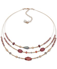 """Gold-Tone Stone Three Layer Statement Necklace, 16"""" + 3"""" extender"""