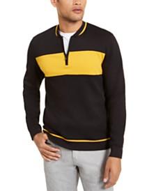 Alfani Men's Colorblocked Quarter-Zip Baseball-Collar Sweatshirt, Created for Macy's