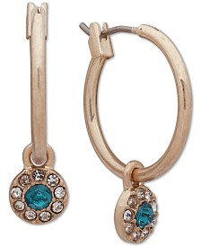 """lonna & lilly Small Gold-Tone Crystal Circle Hoop Earrings 1"""""""