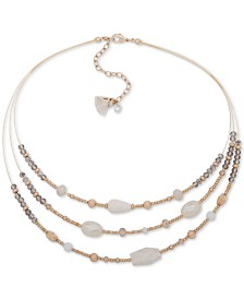 """lonna & lilly Gold-Tone Beaded Illusion  Collar Necklace, 16"""" + 3"""" Extender"""