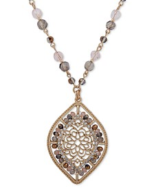 """lonna & lilly Gold-Tone Pavé & Bead Openwork 26"""" Pendant Necklace"""