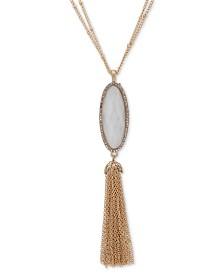 "lonna & lilly Gold-Tone Pavé, Stone & Chain Tassel 32"" Pendant Necklace"