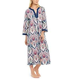Printed Long Zipper Robe