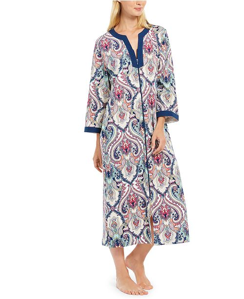 Miss Elaine Printed Long Zipper Robe