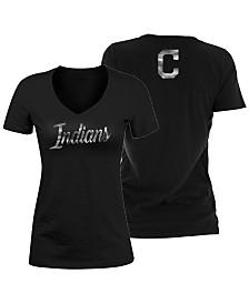 5th & Ocean Women's Cleveland Indians Black Foil V-Neck T-Shirt
