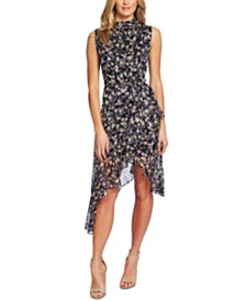 CeCe Floral-Print Asymmetrical Dress