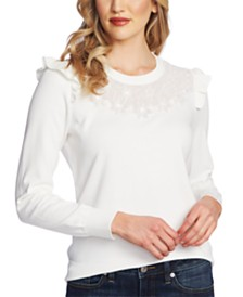 CeCe Floral Embroidered Sweater