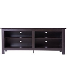 Basicwise Wooden TV Stand Console Table with Shelves
