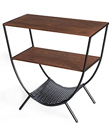 Wood and Metal Console Table with 3 Shelves, Round Accent Table for Living Room TV Stand Console