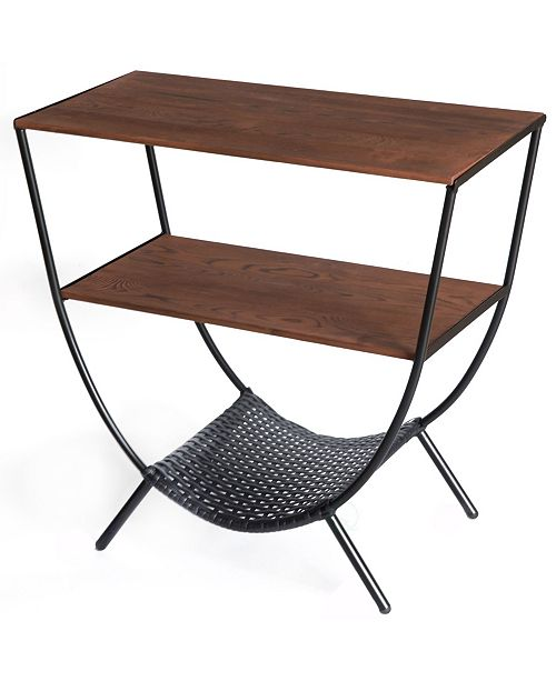 Wood And Metal Console Table With 3 Shelves Round Accent Table For Living Room Tv Stand Console