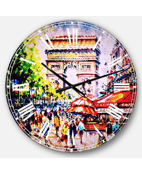 Designart Cityscape Oversized Round Metal Wall Clock