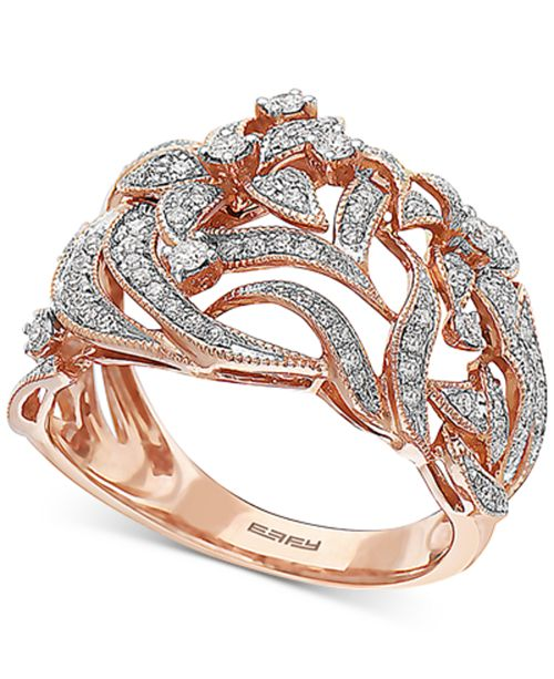 EFFY Collection EFFY® Diamond Floral Statement Ring (3/8 ct. t.w.) in 14k Rose Gold