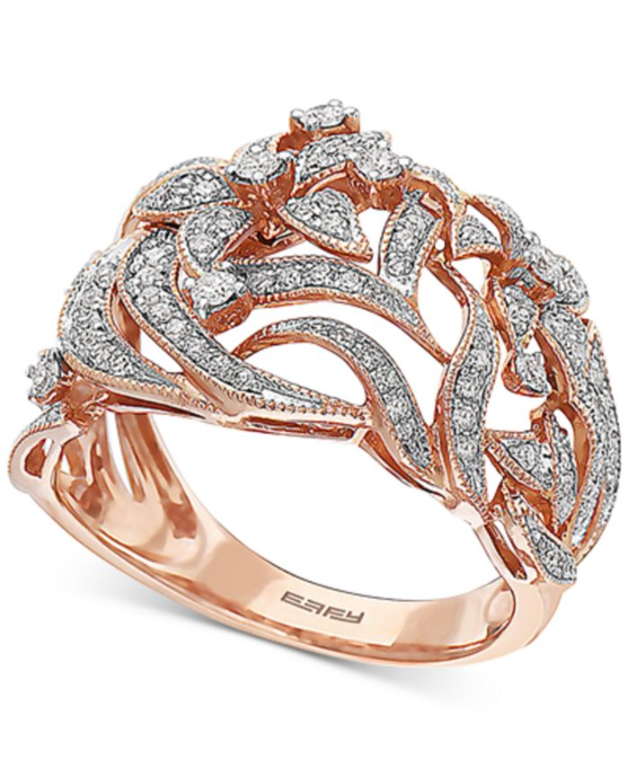 EFFY Collection - Diamond Floral Statement Ring (3/8 ct. t.w.) in 14k Rose Gold