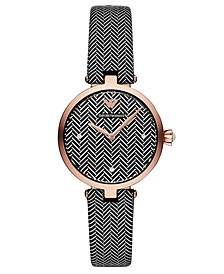 Women's Black & White Leather Strap Watch 32mm