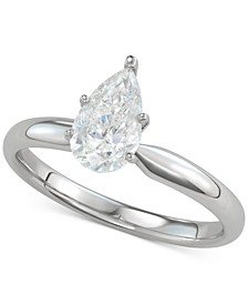 Diamond Pear-Cut Solitaire Engagement Ring (1 ct. t.w.) in 14k White Gold