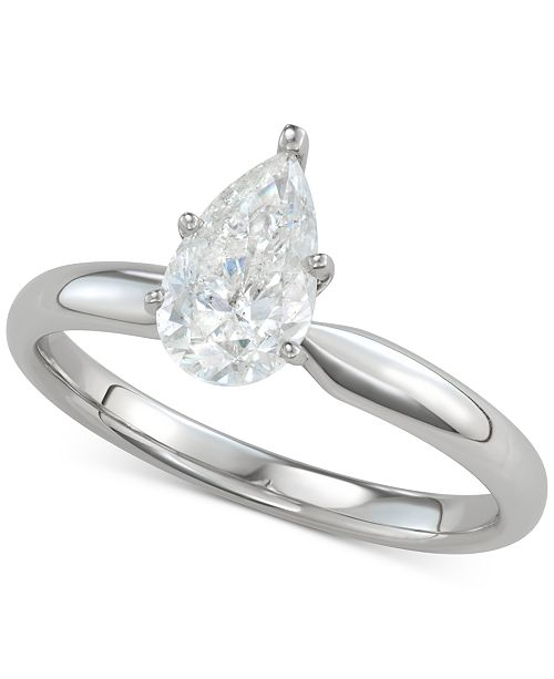 Macy's Diamond Pear-Cut Solitaire Engagement Ring (1 ct. t.w.) in 14k White Gold