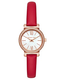 Women's Petite Sofie Red Leather Strap Watch 26mm