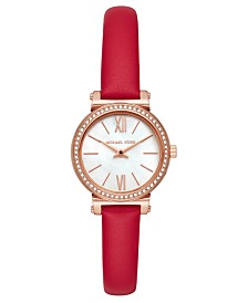 Michael Kors Women's Petite Sofie Red Leather Strap Watch 26mm