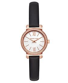 Women's Petite Sofie Black Leather Strap Watch 26mm