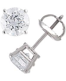 Certified Diamond Stud Earrings (2 ct. t.w.) in 14k Gold