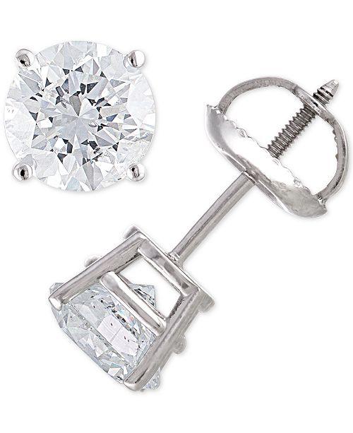 Macy's Certified Diamond Stud Earrings (2 ct. t.w.) in 14k Gold
