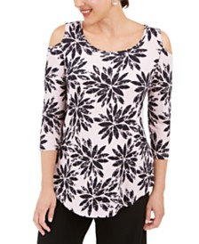 JM Collection 3/4-Sleeve Cold-Shoulder Top, Created for Macy's