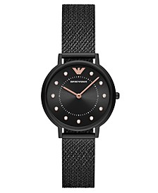 Women's Black Stainless Steel Mesh Bracelet Watch 32mm
