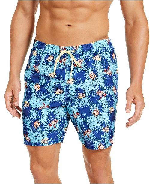 "Club Room Men's Bulldog Print 7"" Swim Trunks, Created for Macy's"