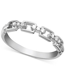 Diamond (1/10 ct. t.w.) Link Band Ring in Sterling Silver