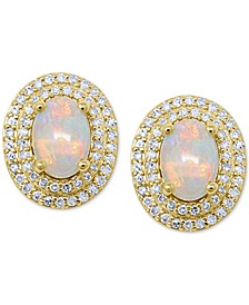 Opal (7/8 ct. t.w.) & Diamond (1/3 ct. t.w.) Stud Earrings in 14k Gold