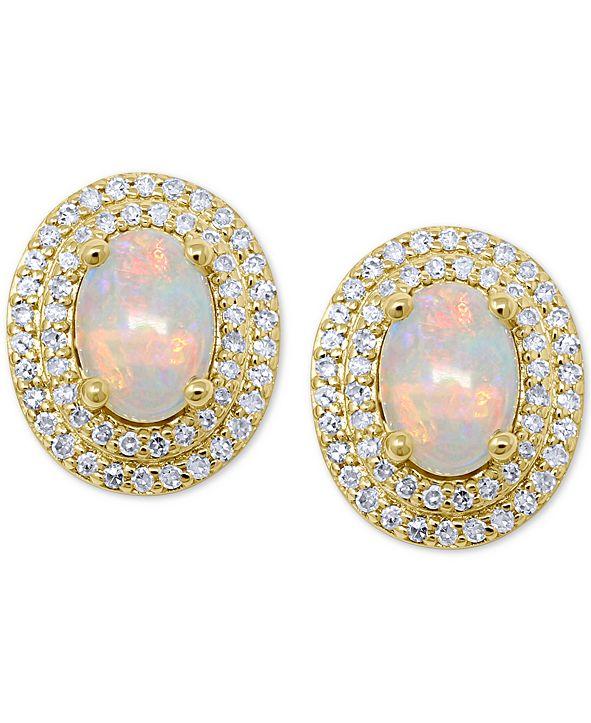 Macy's Opal (7/8 ct. t.w.) & Diamond (1/3 ct. t.w.) Stud Earrings in 14k Gold