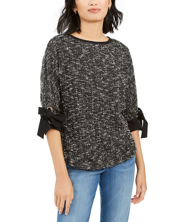 Charter Club Petite Bow-Cuff Marled Top, Created for Macy's