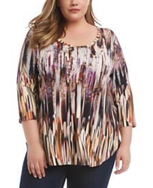 Karen Kane Plus Size Printed Shirttail T-Shirt