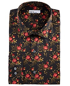 Men's Slim-Fit Stretch Painted Poppy Dress Shirt, Created for Macy's