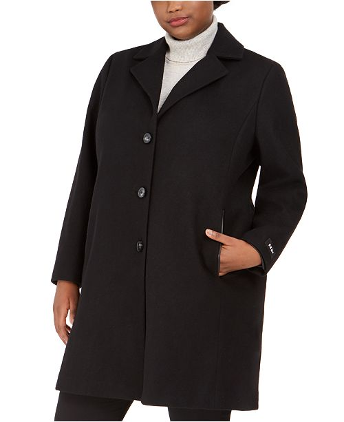 DKNY Plus Size Faux-Leather-Trim Walker Coat, Created for Macy's