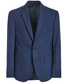 Big Boys Classic-Fit Stretch Bright Navy Blue Windowpane Check Suit Jacket