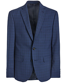 Lauren Ralph Lauren Big Boys Classic-Fit Stretch Bright Navy Blue Windowpane Check Suit Jacket